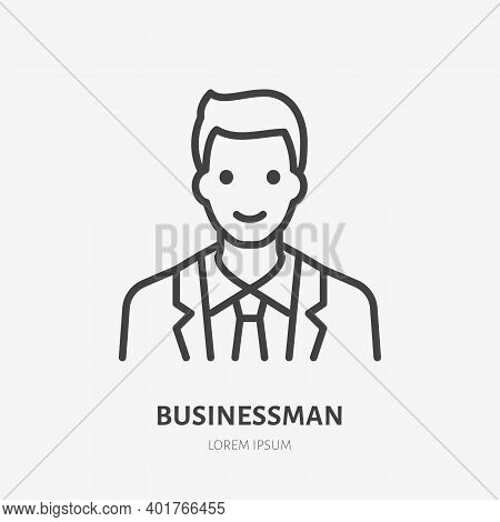 Businessman Flat Line Icon. Vector Outline Illustration Of Man In Suit. Black Color Thin Linear Sign