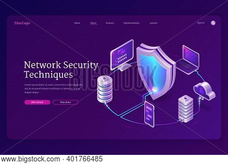 Network Security Techniques Banner. Concept Of Safety Internet Technologies, Data Secure. Vector Lan
