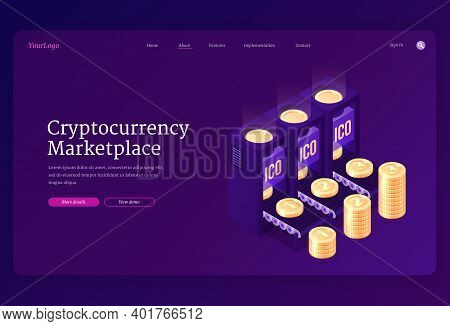 Cryptocurrency Marketplace Banner. Concept Of Online Crypto Currency Exchange Or Transaction With Bl