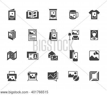 Photo Printing Flat Icon Set. Brand Identity Printed On Products Like Brochure, Banner, Mug, Plotter