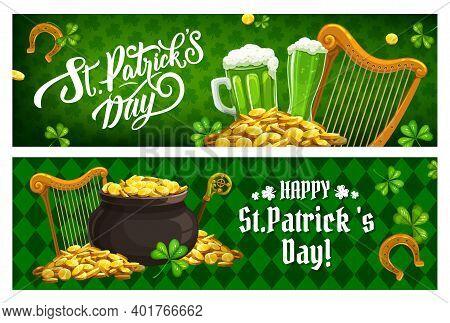 St. Patricks Day Irish Holiday Banners. Cartoon Vector Harp, Shamrocks Clover Leaves, Gold Horseshoe