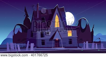 Old Scary House With Glow Windows At Night. Vector Cartoon Landscape With Spooky Wooden Mansion, Bro