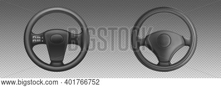 Car Steering Wheels, Auto Part For Control Drive And Turn. Vector Realistic Set Of Black Leather Aut