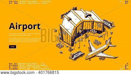 Airport Terminal And Airplane Isometric Landing Page. Plane Near Aerodrome Terminal Building Prepare