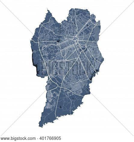 Curitiba Map. Detailed Vector Map Of Curitiba City Administrative Area. Cityscape Poster Metropolita