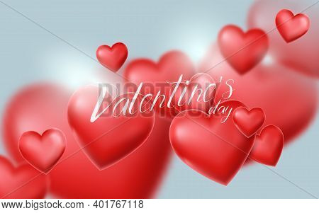 Valentines Day And Wedding Background. 3d Red Heart Balloon Floating In The Sky. Vector Illustration