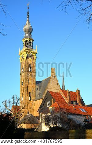 The Stadhuis (town Hall) With Its Impressive Clock Tower In Veere, Zeeland, Netherlands