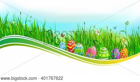 Easter Eggs On Green Wave Of Grass And Flowers, Religion Holiday Vector Banner. Easter Egg Hunt Spri
