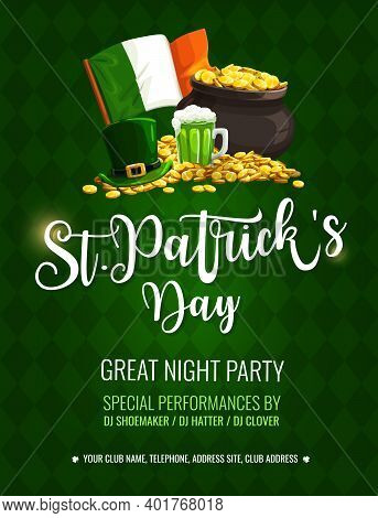 St. Patrick Day Cartoon Vector Poster With Top Hat, Pint Of Ireland Ale, Leprechaun Pot With Gold An