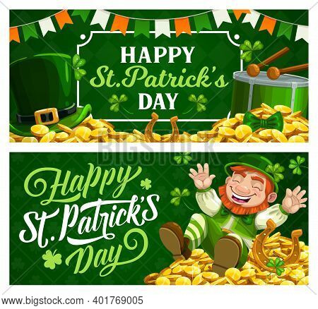 St. Patrick Day Cartoon Vector Banners With Leprechaun In Green Top Hat Sitting On Gold Coins Pile W