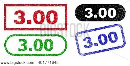 3.00 Grunge Seal Stamps. Flat Vector Grunge Stamps With 3.00 Phrase Inside Different Rectangle And R