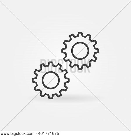 Two Cogs Vector Concept Icon Or Sign In Outline Style