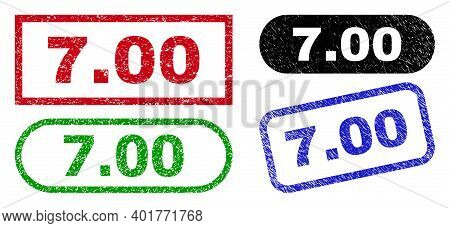 7.00 Grunge Seals. Flat Vector Grunge Seals With 7.00 Phrase Inside Different Rectangle And Rounded