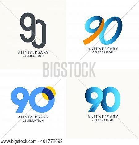 90 Years Anniversary Celebration Compilation Logo Vector Template Design Illustration