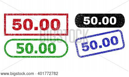 50.00 Grunge Watermarks. Flat Vector Distress Watermarks With 50.00 Title Inside Different Rectangle