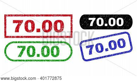 70.00 Grunge Stamps. Flat Vector Scratched Seal Stamps With 70.00 Phrase Inside Different Rectangle