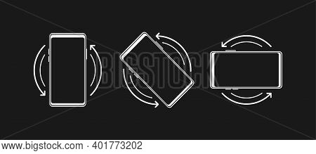 Rotate Mobile Phone. Turn Your Device. Device Rotation Symbol. Vector Illustration.