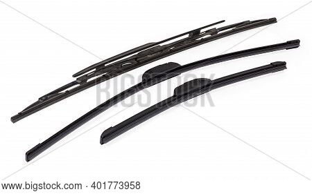 Pair Of New Modern Frameless Car Windshield Wipers Blades Different Lengths Against A Single Traditi