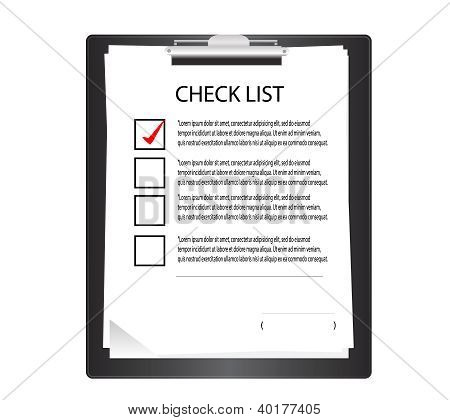 Clipboard with check list.