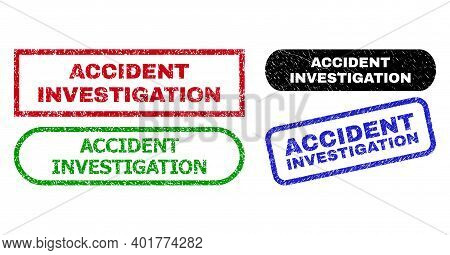 Accident Investigation Grunge Seal Stamps. Flat Vector Distress Seal Stamps With Accident Investigat
