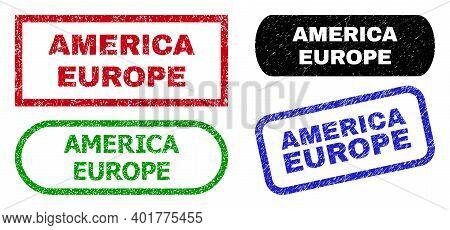America Europe Grunge Seal Stamps. Flat Vector Grunge Seal Stamps With America Europe Slogan Inside