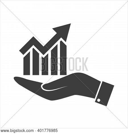 Single Arrow Growing Pointing Up On Chart Graph Bars Icon, Success Graph Trending Upwards Flat Desig