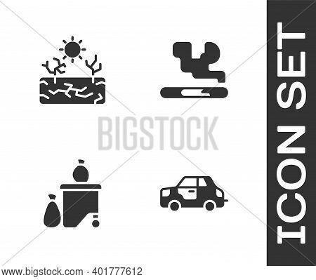 Set Car, Drought, Full Dustbin And Cigarette Icon. Vector
