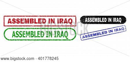 Assembled In Iraq Grunge Seal Stamps. Flat Vector Textured Seal Stamps With Assembled In Iraq Text I