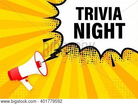 Trivia Night Banner In Flat Style. Vector Illustration.
