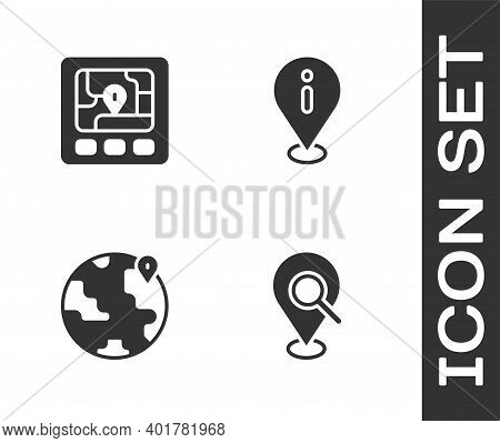 Set Search Location, Gps Device With Map, Location The Globe And Information Icon. Vector