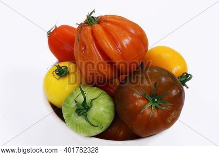 Heirloom Tomatoes Also Known As Heritage Tomatoes Collection Isolated With White Background