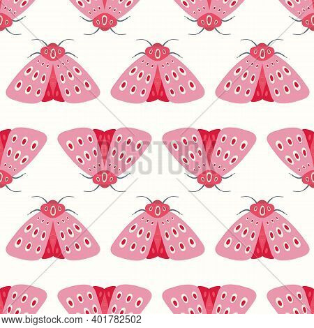 Moth Pattern Design. Cute Vector Seamless Repeat Of Pink And Red Moths In A Geometric Layout. Fun In