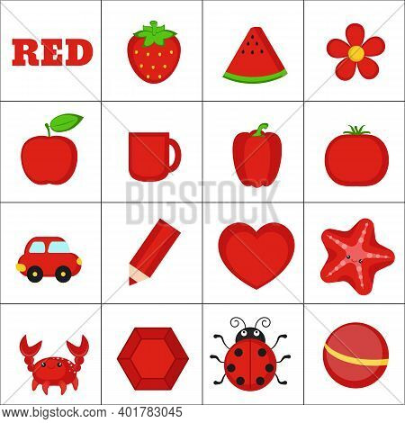Learn The Color. Red Objects. Education Set. Illustration Of Primary Colors.