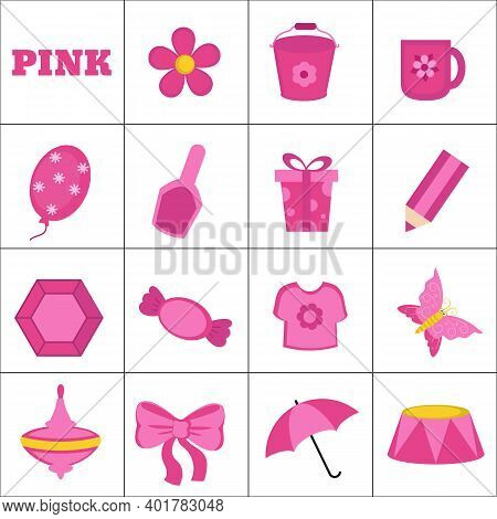 Learn The Color. Pink Objects. Education Set. Illustration Of Primary Colors.
