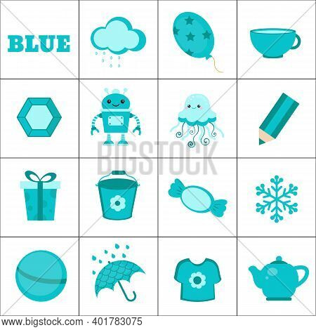 Learn The Color. Blue Objects. Education Set. Illustration Of Primary Colors.
