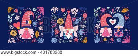 Valentine Cute Gnomes Dwarfs Cards Poster Banner