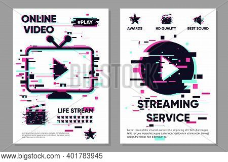 Online Video Backdrop. Cinema Background. Vector Banner With Tv Objects. Glitch Style Image. Color I