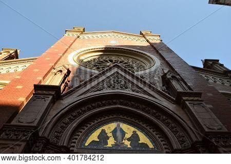 Istanbul,turkey-10.august 2020: Roman Catholic Church St.anthony Of Padua In Close Up View Under Blu