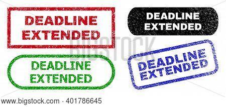 Deadline Extended Grunge Watermarks. Flat Vector Grunge Seals With Deadline Extended Message Inside