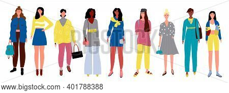 Multiethnic Group Of Woman. Multinational Women Standing Together. Cartoon Character Flat Vector Ill