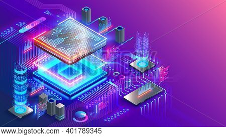 Blockchain Cryptocurrency Technology Isometric Concept. Graphic Cpu Miner Mines Electronic Crypto Cu