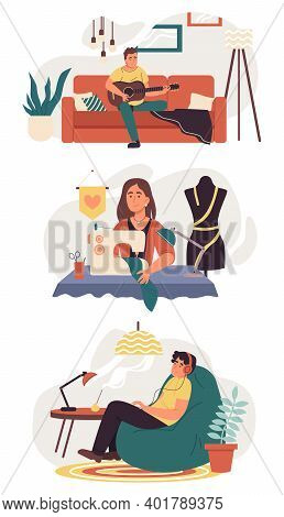 Set Of People Do Hobbies. Man Plays The Guitar,  Woman Sews Clothes And Man Listens To Music On Head