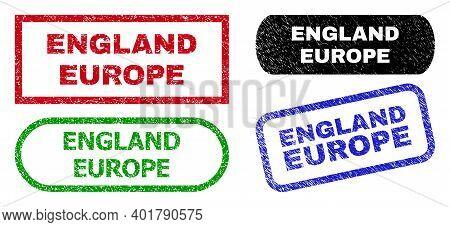 England Europe Grunge Watermarks. Flat Vector Distress Watermarks With England Europe Message Inside
