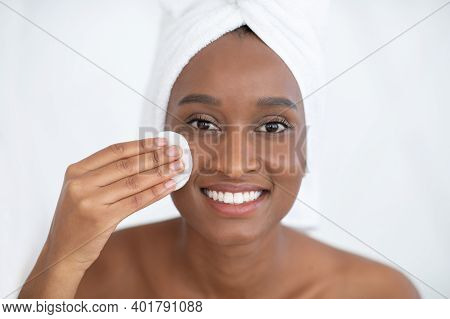 Youth, Beauty And Glowing Skin, Home Care And Spa. Millennial African American Woman With Towel, Cle
