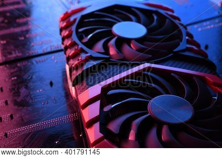 Computer Game Graphics Card, Videocard With Two Coolers On Circuit Board ,motherboard Background. Cl