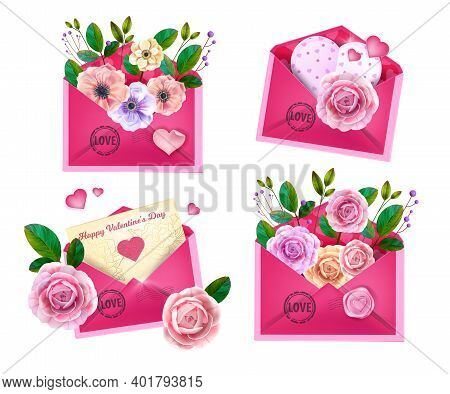 Valentines, Mothers Day Vector Love Letters, Closed And Opened Pink Envelopes Set Isolated On White.