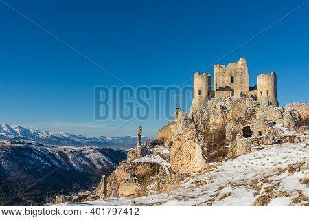 Norman Castle Rocca Calascio In The Gran Sasso And Monti Della Laga National Park, Mountain Landscap