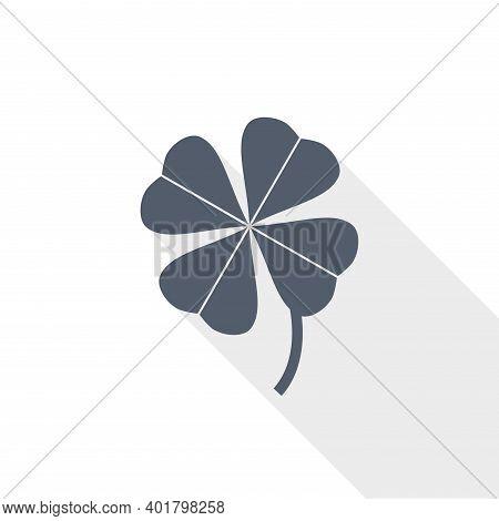Four-leaf Clover Vector Icon, Flat Design Illustration In Eps 10