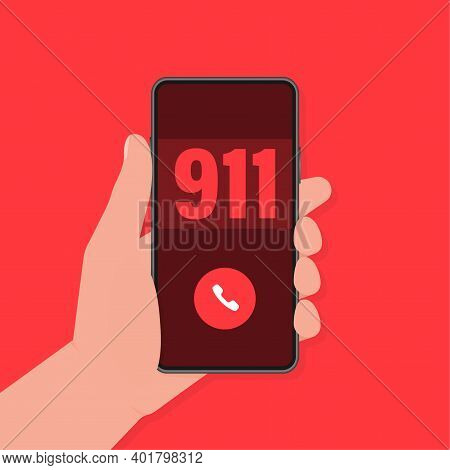 Phone, Call Icon, Smartphone Icon Vector Design. Smartphone Hand 911 In Flat Style. Vector Backgroun