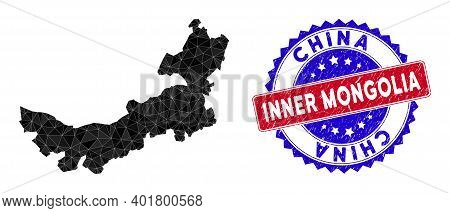 Chinese Inner Mongolia Map Polygonal Mesh With Filled Triangles, And Rubber Bicolor Rubber Seal. Tri
